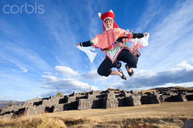 Traditional Peruvian Dancer at Sacsayhuaman. Cusco. Peru.