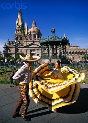 Dancers in Plaza de Armas in Guadalajara