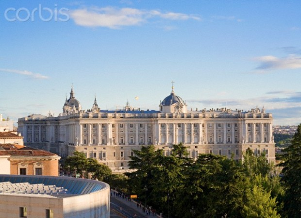 View from Plaza de Espana, on the left corner is visible Senato Palace, Madrid Royal Palace